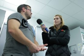 Researcher being interviewed by BBC Radio Cornwall