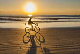 silhouette of a man cycling across beach at sunset