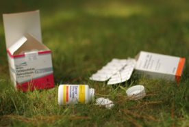 A selection of pill bottles and packets lying on the grass