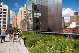 New York's High Line garden with people walking along
