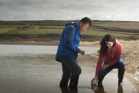 Researchers sample water at Loe Pool in Cornwall