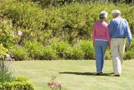 An older couple walking through a green garden with flower beds