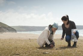 Researchers collect samples from a beach in Cornwall