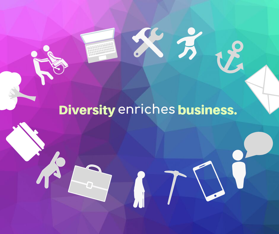 The Inclusivity Project graphic showing a diverse range of people and professions as icons, with the words, diversity enriches business