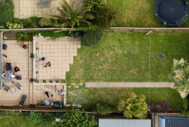 Suburban english garden seen from above
